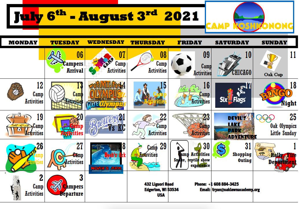 Calndario Summer Course 2021
